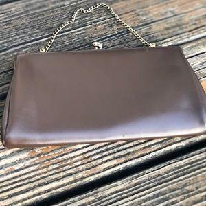 Vintage 50s 60s Leather Clutch Purse Evening Bag